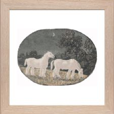 Horses at Night state 2 key black 5 colour blocks - Ready Framed